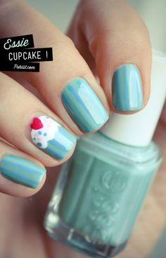 Cupcake Nail Art!  Essie Turquoise  Caicos,  China Glaze Electric Beat,  China Glaze Sexy Silhouette, and  China Glaze White on White