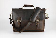 """Men's Handmade Vintage Leather Briefcase / Leather Messenger Bag / 13"""" 15"""" MacBook 13"""" 14"""" 15"""" Laptop Bag"""