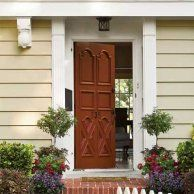 """Neutral Siding: Reddish Brown """"Hints of red connect to the brick stoop, and the color is fresher than the usual formal-door black. Front Door Paint Colors, Painted Front Doors, Exterior Paint Colors, Cottage Style Doors, Cottage Door, Brown Front Doors, Red Shutters, Painted Chandelier, Lamp Makeover"""