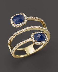 Yellow Gold Blue Sapphire Triple Row Ring with Diamonds Meira T Gelbgold Blauer Saphir Dreireihiger Ring mit Diamanten Luxury Jewelry, Bling Jewelry, Diamond Jewelry, Vintage Jewelry, Jewelry Accessories, Jewelry Necklaces, Gold Bracelets, Gold Earrings, Silver Jewelry