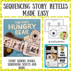 This activity pack has been inspired by the Nick Bland story The Very Hungry Bear and will assist your students to practice retelling and sequencing stories. Story Retell, Story Sequencing, Sequencing Activities, Preschool Literacy, Kindergarten Reading, Book Activities, Primary School Curriculum, Primary Teaching, Teaching Writing