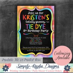Tie Dye Birthday Party Invitation by SimplyKayleeDesigns on Etsy