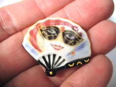 Ladies Hand Fans - Venetian Italian Masquerade Fan - French Feve Feves Porcelain Figurines Doll House Miniatures