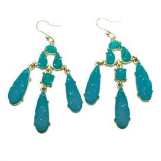 More fun colors for spring!  Druzy chandelier earrings $53