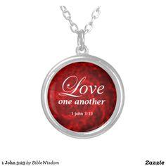 1 John 3:23 Round Pendant Necklace