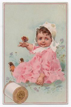 J P Coats Sewing Thread Trade Card Butterfly Lands on Little Girls Finge