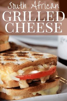 South African Grilled Cheese sandwich is a delicious twist on a classic. Brie, tomato and caramelized onion are grilled on a braai to a melty perfection! Easy Delicious Recipes, Yummy Snacks, Yummy Food, Grilled Cheesus, Pork And Beef Recipe, Toast Sandwich, Food Tasting, Homemade Pie, Fall Recipes