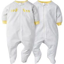 Gerber 2 Piece White/Yellow Striped and Allover Printed Zip Up Sleep n Play Footies