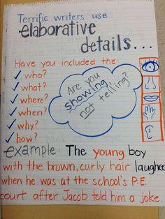 Fourth grade anchor charts | Elaboration, sensory details, writing, fourth grade