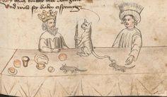 King Solomon's cat  Hans Vintler, Die pluemen der tugent, Vienna 1450.     Wien, Österreichische Nationalbibliothek, cod. s. n. 12819, fol. 130r