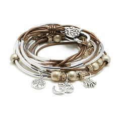Lizzy James Boho with Om Charm Trio Wrap Bracelet for Women ($150) ❤ liked on Polyvore featuring jewelry, bracelets, accessories, leather wrap bracelet, boho bangles, wrap bracelet, leather charm and charm jewelry