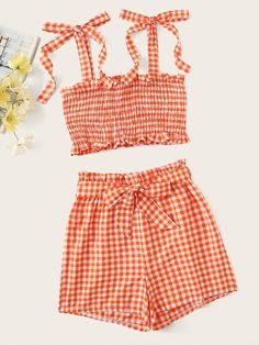 Shop Gingham Shirred Cami Top With Belted Shorts at ROMWE, discover more fashion styles online. Teenager Outfits, Girl Outfits, Fashion Outfits, Pop Fashion, Fashion News, Fashion Black, Fashion Styles, Vintage Fashion, Cute Summer Outfits