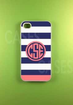 Monogrammed Iphone 4 Case, Monogram Iphone 4s Case, Iphone 4 s Cover - Blue Pink Strip on Etsy, $16.99