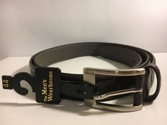 NWT The Men's Wearhouse Size 44  Brown Genuine Leather Belt Silver Tone Buckle #TheMensWearhouse