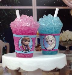 Elsa or Anna Frozen Slush Drink for American by DolliciousDesign Frozen Birthday Party, 4th Birthday Parties, Frozen Party, Girl Birthday, American Girl Food, American Dolls, Ag Dolls, Girl Dolls, Disney Outfits Girls