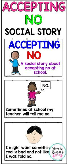Social Stories: Accepting No Social Stories: Accepting No,Social skills lessons Social Story: Accepting No. Great for special education students, student with autism, or student that struggle with appropriate school behavior. Social Skills Lessons, Social Skills Activities, Teaching Social Skills, Coping Skills, Therapy Activities, Life Skills, Play Therapy, Articulation Activities, Speech Therapy