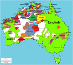 A map showing the various languages found on the continent of Australia. It is interesting to note that many smaller, native languages still exist here even after British control spread English.