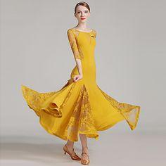 acbd1b36e3a8 Ballroom Dance Women's Performance Lace Ice Silk Laces Splicing Half Sleeve  Natural Dress Ballroom Dress,