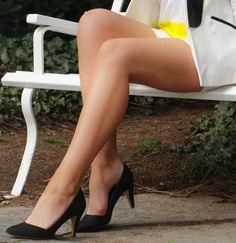 Charming legs in black heels