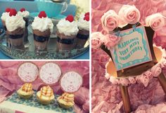 Alice in wonderland party collage.  Crown table sign or label.  DIY paper pocket watch cupcake toppers. Tablescape, decorations, centerpiece, favors & photo booth props & backdrop ideas.  Birthday party, garden tea party, bridal or baby shower inspiration.
