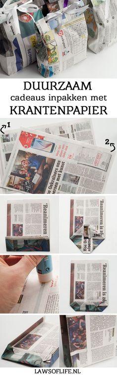 Upcycling: cadeaus inpakken in schattige tasjes van krantenpapier is niet alleen veel milieuvriendelijker, maar ook een stuk goedkoper. Upcycling: wrapping gifts in these cute little gift bags made out of old news papers is not only better for the environment, it's also cheaper!