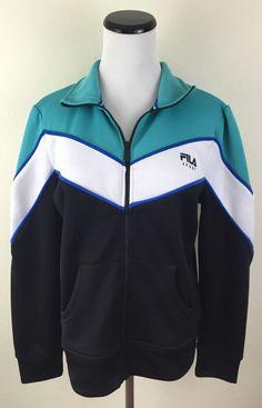 Fila Athletic Sweatshirt Jacket Large Full Zip Black White Green | eBay