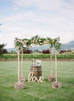 Rustic wedding arch chuppah