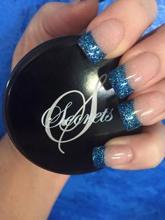 Blue Glitter Encapsulated Tips Give This French Mani An Edgy Look Nsi Nails