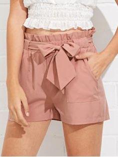 Casual Plain Straight Leg Regular Elastic Waist Mid Waist Pink Self Belted Ruffle Waist Shorts with Belt