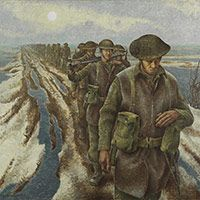 Infantry, near Nijmegen, Holland by war artist, Alex Colville.