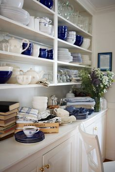 blue and white, open shelving, collections