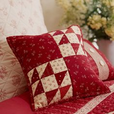 Romance in Red - Combine simple designs and classic red-and-cream prints for an endearing cozy pillow.