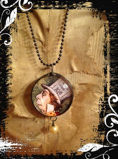 Mad hatter necklace soldered jewelry handmade steampunk