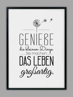 "Impresión original - impresión artística ""ENJOY LIFE"" - un producto de diseño de Smart-A . - Original Print – Lámina ""ENJOY LIFE"" – hecho a mano por Smart-Art-Art Prints en DaWanda Imágen - Words Quotes, Life Quotes, Sayings, The Words, Brush Lettering, Hand Lettering, German Quotes, Quotations, Inspirational Quotes"
