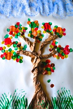 Crayon Box Chronicles: Fall Tree -- Cork & Utensil Painting