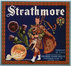 STRATHMORE Vintage Orange Crate Label
