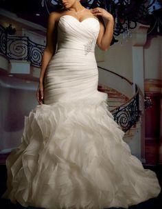 Hot Plus Size Sweetheart Strapless Beautifully Organza Mermaid Wedding Dress