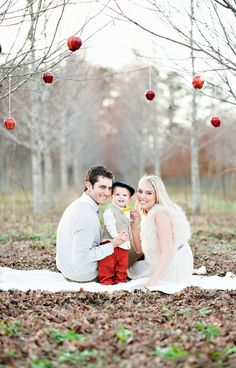 Ornaments hanging from tree branches for holiday photos - I love this idea for Christmas cards!