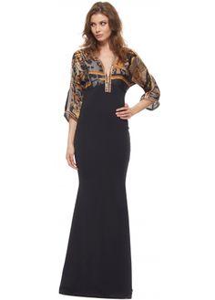 Baccio Megan Silk Antique Print Crystal Trim Black Evening Dress