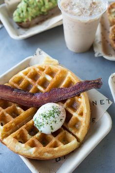 Waffles and poached egg with an iced coffee / Dinette / Los Angeles