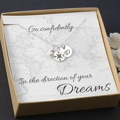 Compass Necklace - Graduation Card, 2014 Graduation Gift, Silver Compass Charm, Initial, Pearl or birthstone
