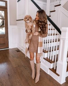 Camel tonal outfit - long sleeve camel sweater dress with striped scarf and beige knee high boots. #thanksgivingoutfit #holidaylook Fall Fashion Outfits, Autumn Fashion, Southern Curls And Pearls, Thanksgiving Outfit, Autumn Inspiration, What To Wear, Cute Outfits, My Style, Classic