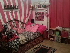 Zebra theme room with Hand Painted Wall Art/ Mural by Joanna Bernhardt Voss