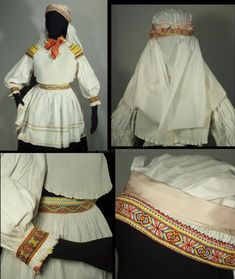 Partial Woman's Folk Costume from Zliechov, Slovakia - embroidered blouse, apron & head scarf Ethnic Fashion, Fashion Art, Fashion Design, Folk Costume, Costumes, Vintage Textiles, Embroidered Blouse, Lace Trim, Apron