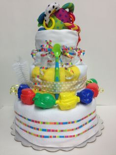 Multi Color Diaper Cake view 1 for Boy or Girl
