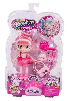 Shopkins Shoppies Dolls Single Pack - Pirouetta Pirouetta comes with 2 Exclusive Shopkins Includes a hairbrush and matching Purse Includes VIP Card that unlocks bonus content in the Welcome to Shopville App Doll stand is included Shopkins Game, New Shopkins, Shoppies Dolls, Shopkins And Shoppies, Vip Card, Lol Dolls, Jouer, Toys For Girls, Doll Accessories