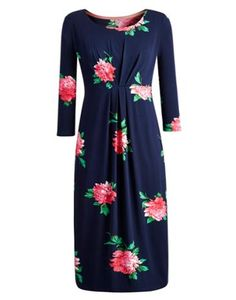 Joules Women's Below The Knee Dress, French Navy Peony.                     Our best seller is back! If you�re looking for a midi length dress, cut to sit below the knee then look no further.  In our signature stripes or statement floral and crafted from soft jersey this dress, with a wide, higher neck line, it�s sure to be a go-to favourite.