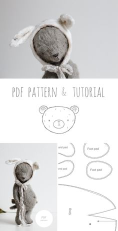 Teddy Bear Bunny Ears Pattern PDF For Crafters Make your own teddy bear in a bunny hat is a great way to say Holly Easter to your mom. Pdf sewing pattern & tutorial at annapavlovna. Teddy Bear Sewing Pattern, Plush Pattern, Sewing Stuffed Animals, Stuffed Animal Patterns, Diy Teddy Bear, Teddy Bears, Bunny Hat, Bunny And Bear, Fabric Crafts