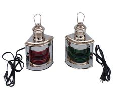 Chrome Port and Starboard Electric Lantern 12""