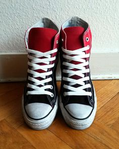 Vivid red to black ombre Converse dip dye upcycled by Femchan